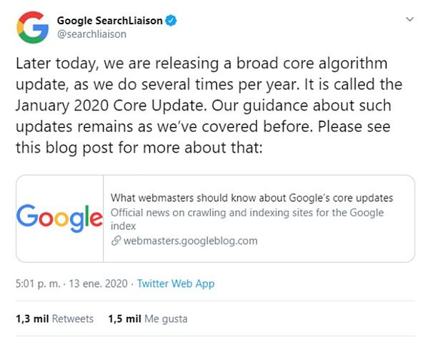Google-Core-Update-tweet